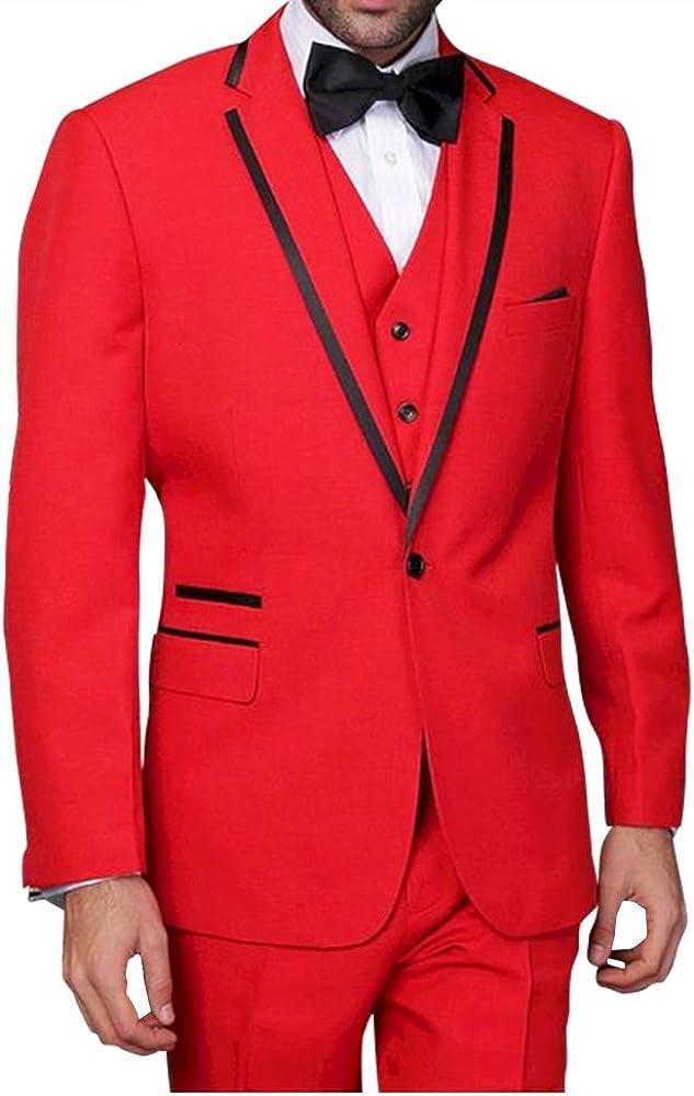 Classic 3 Pieces Mens Red Tailored Slim Fit Tuxedo Stylish Groom Groomsmen Wedding Suit