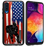 CasesOnDeck Dual Layer Case Compatible with Samsung Galaxy A50 [Grip Tactical] Corner Guard Case with Rubberized Exterior USA Flag Sports -Hockey