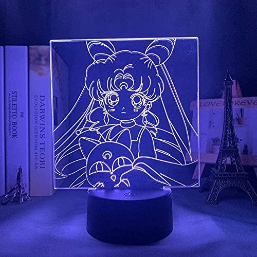 3D anime ilusión lámpara LED noche luz lámpara de mesa para niñas decoración de la habitación Anime Personajes lámpara de mesa sensor táctil colorido vacaciones cumpleaños regalos