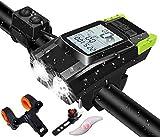 Velocímetro inalámbrico LCD con retroiluminación HD construido con luz para bicicleta baterías de 4000MAH computadora de bicicleta recargable por USB campana de 130db 7 Registro 4 modos de iluminación