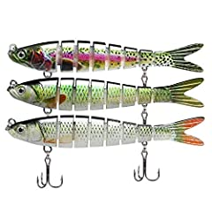 🐟【8 SEGMENTS REALISTIC LURES】: Designed with 8 segmented body sections, GOTOUR fishing lures can sink slowly and deliver a natural S-shaped swimming action at any speed, which will bring on quicker bites. 🐟【ADVANCED AUTHENTICITY】: Constructed with a ...