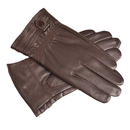 YISEVEN Herren Touchscreen Lammfell Lederhandschuhe mit Warm Gefüttert Elegant Winter Leder Autofahrer-Handschuhe Geschenk, Braun XL/10.0