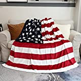 Sviuse American Flag Blanket, Super Soft Sherpa Twin Throw 60 80 Blanket for Bed Couch Chair Fall Winter Camping Living Room Office Gift