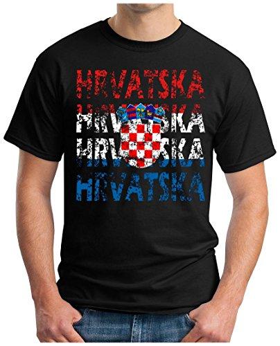 OM3® - Hrvatska - T-Shirt Croatia Kroatien Fussball World Cup Soccer Fanshirt Sport Trikot, 3XL, Schwarz