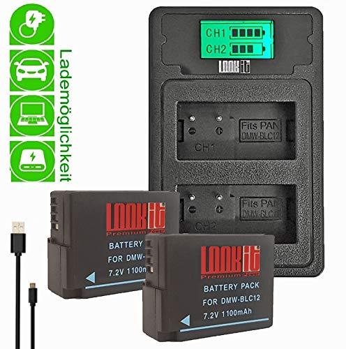 LOOKit Mini LCD Duallader + 2X Akku BLC12 E - 1100mAh kompatibel zu Panasonic Lumix DC G91 FZ2000 FZ1000 II G81 FZ300 FZ1000 G6M GX8M GX8 G70