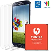 S4 Battery [ NFC / Google Wallet Capable ] ,YONTEX 2600mAh Replacement Battery for Samsung Galaxy S4 [ I9500,I9505,Galaxy S4 LTE I9506, M919, I545, I337, L720 ] with 3 Pack Screen Protector