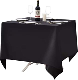Surmente Square Tablecloth for Square or Round Tables 100% Polyester 85x85 Table Cloth for Weddings, Banquets, or Restaurants (Black)