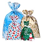 Amosfun Christmas Goody Bags Holiday Treats Bags Christmas Party Favor Bags with Ribbon Ties 30pcs (4 Sizes)