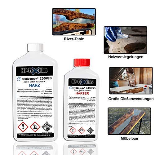 Epoxidharz klar mit Härter 8,1kg | Transparentes Gießharz speziell für Rivertable, Möbelbau und große Gießanwendungen | Lösemittelfrei und geruchsarm | Kunstharz zum Gießen | Epoxy Resin E300GB