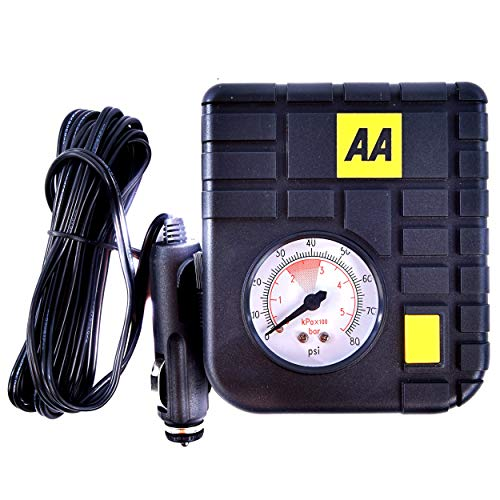 AA 12 V Compact Tyre Inflator AA5007 – For Cars Other Vehicles Inflatables Bicycles - Shows PSI BAR KPA 0-80 PSI – Includes Adaptors large image