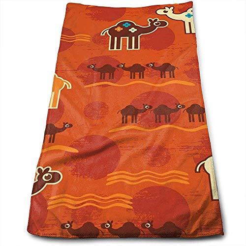 Bert-Collins Towel Chameau du désert Personnalité Mignonne Motif Amusant Serviettes de Toilette Superfine Fiber Super Absorbant Serviettes de Gymnastique Douces