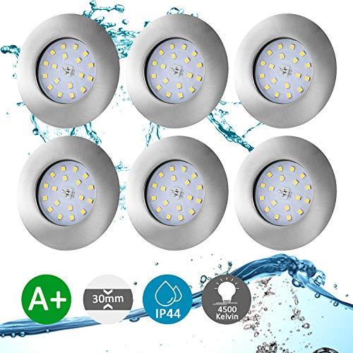Lot de 6 Spot LED Encastrable Salle de Bain IP44 Étanche, Bojim Spot de Plafond Ultra-Plat, 4500K Blanc Neutre Lumière du jour 5.5W 470LM, 220V pour Chambre Cuisine Couloir Salon Galerie Non Dimmable