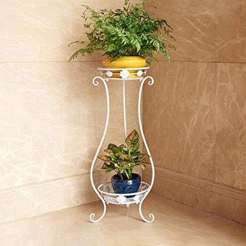 Européenne balcon fleur porte en fer forgé multi-couches salon intérieur étage vert planter étagère fleur supports, (rouge Bronze/noir/blanc) 33 * 23 * 80 cm (Color : White)