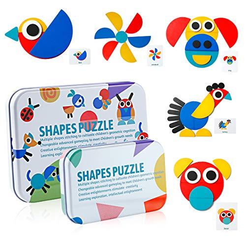 Vintoney Kinder Holzpuzzle Steckpuzzle Holz Montessori Spielzeug zum Sortieren und Stapeln Lernspielzeug Pädagogisches Geschenk für Kleinkinder Weihnachten Geburtstag