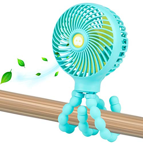Mini Handheld Personal Portable Fan, Baby Stroller Fan, Car Seat Fan, Desk Fan, with Flexible Tripod Fix on Stroller Student Bed Bike Crib Car Rides, USB or Battery Powered (Light Blue)