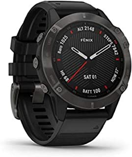 Garmin Fenix 6 Sapphire, Premium Multisport GPS Smartwatch, Carbon Grey With Black Band