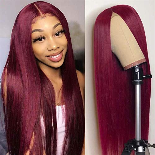 West Kiss 99J Colored Lace Front Wigs 13x4 Straight Burgundy Human Hair Wigs Hair Pre Plucked With Baby Hair For Black Woman 16 Inch