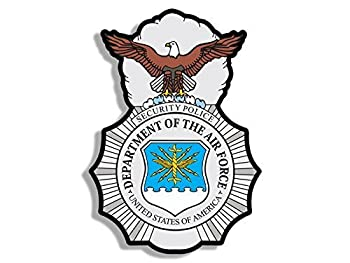 GHaynes Distributing Air Force Security Police Logo Shaped Sticker Decal  Badge Insignia  Size  4 x 4 inch