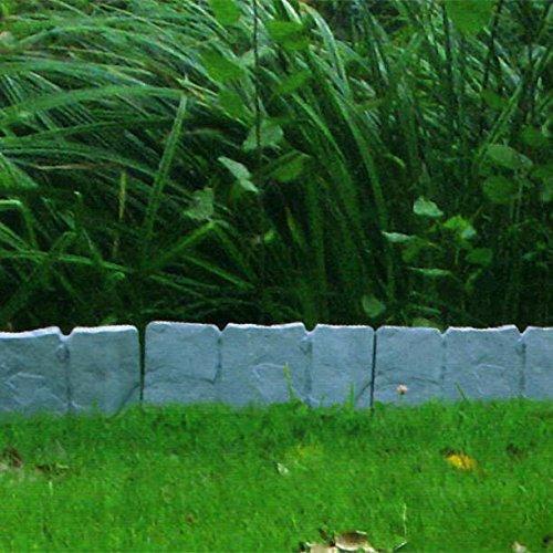 Multistore 2002 10er Set Beeteinfassung Gartenzaun Zierzaun ca. 250cm Stein-Optik Kunststoffzaun