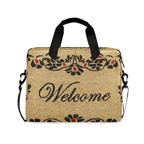 XIXIXIKO - Bolsa de viaje para ordenador portátil, diseño floral con borde de bienvenida, ampliable, para mujeres y hombres, con correa desmontable para viajes de trabajo, negocios, iPad y MacBook