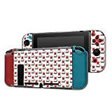 Dockable Case Compatible with Nintendo Switch Console and Joy-Con Controller, Patterned ( Cartoon Coffee Maker Doodle ) Protective Case Cover with Tempered Glass Screen