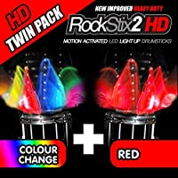 ROCKSTIX 2 HD RED BRIGHT LED LIGHT UP DRUMSTICKS with fade effect Set your gig on fire! (RED and COLOR CHANGE TWIN PACK) [並行輸入品]