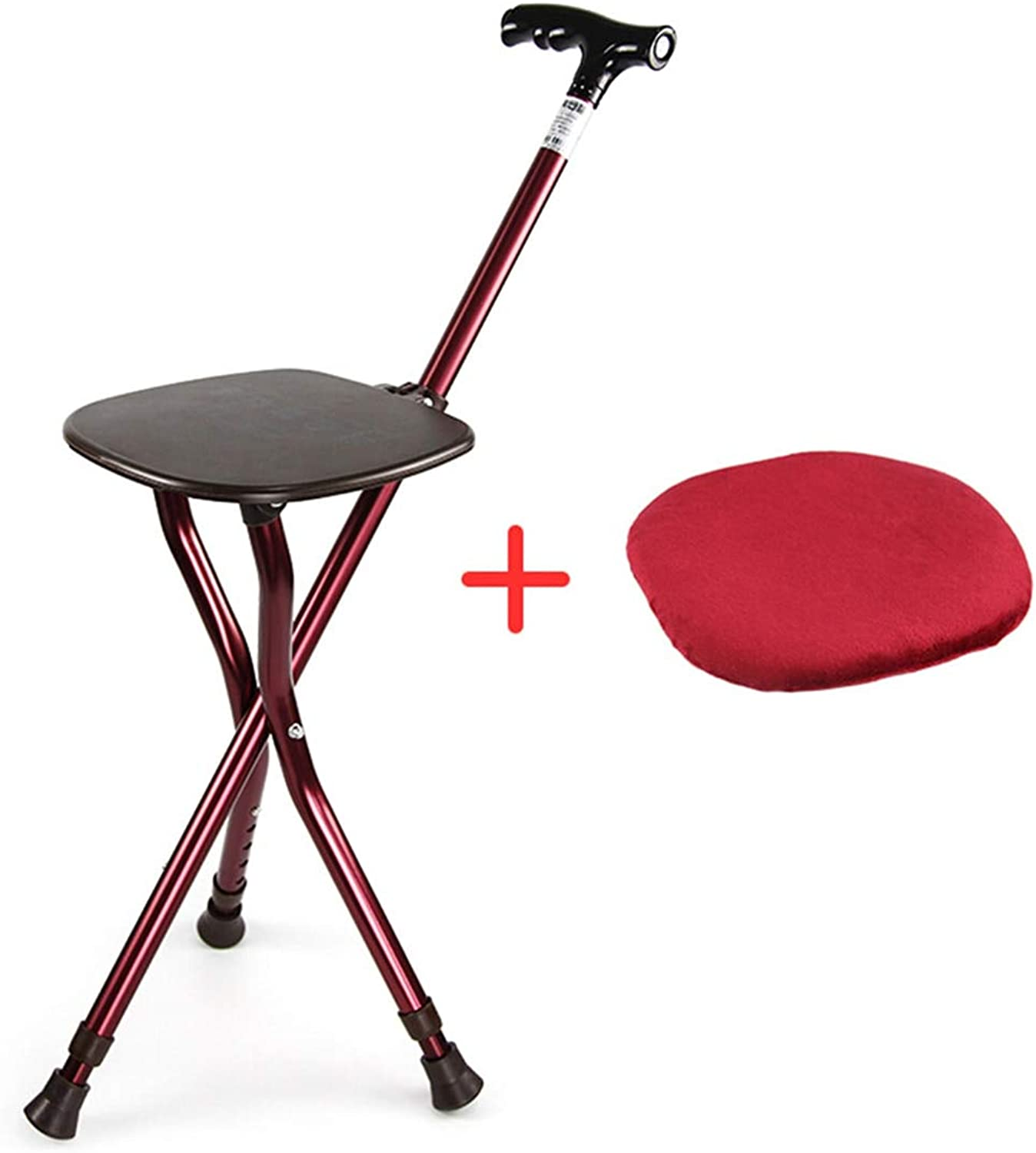 Senior Care Walking Cane Adjustable Folding Stick Massage Stool Portable Chair Fishing Rest LED Light for Elder Max Weight 440 lbs Combo Crutches Aluminum Alloy