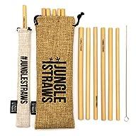 "Jungle Straws - Reusable Bamboo Drinking Straws 8"" 12 Pack - Hessian Bag - Straw Pouch - Cleaning Brush - 100% Organic & Handmade in Vietnam"