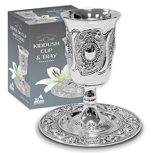 Ner Mitzvah Tall Kiddush Cup and Tray - Premium Quality Silver Plated Goblet With Stem - Shabbat and Havdalah Goblet - Judaica Shabbos and Holiday Gift