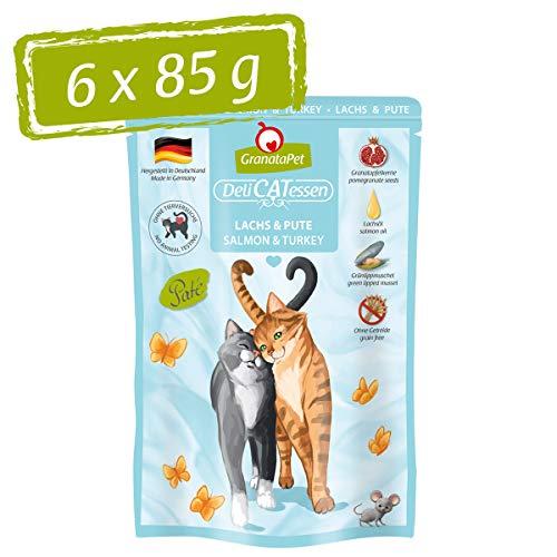 GranataPet Delicatessen Lachs & Pute, Nassfutter für Katzen, Katzenfutter für Feinschmecker, Futter ohne Getreide & ohne Zuckerzusätze, 6 x 85 g
