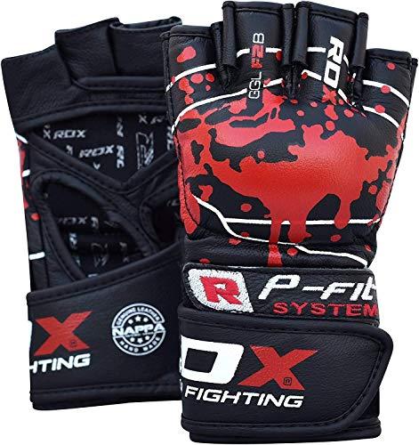RDX MMA Handschuhe für Kampfsport | Genehmigt von SMMAF | NAPPA Rindsleder Profi Sparring Trainingshandschuhe Grappling Gloves| Punchinghandschuh für Kickboxen, Muay Thai, Boxsack, Freefight (MEHRWEG)