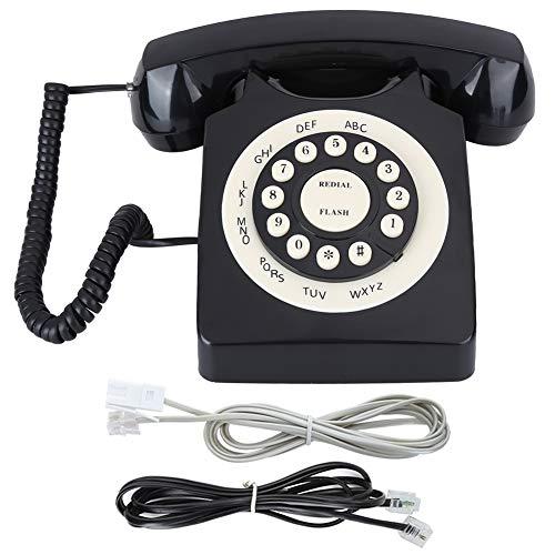 YUN Teléfono con Cable Teléfono Vintage Calidad De Llamada De Alta Definición para Oficina En Casa Negro
