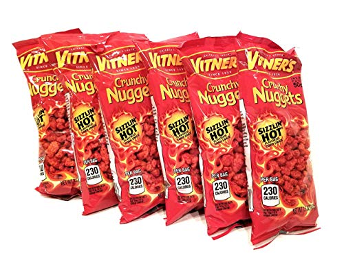 Vitner's Sizzlin' Hot Cheese Crunchy Nuggets 6 Pack 1.05 oz Bags A Chicago Original