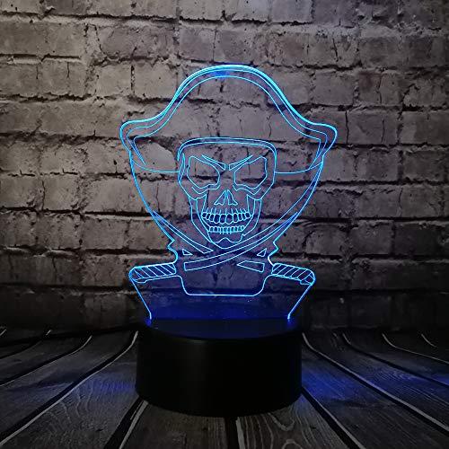 Pirate Action Figuur 3D Illusie Lamp, LED 3D Nachtlampje 7 Kleuren veranderen, met afstandsbediening met USB-kabel voor Kerstmis Verjaardag Kindergeschenken, Slaapkamer Decoratie, Office Decoratie