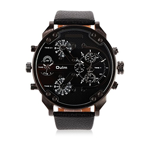 Mens Best Military Watches Multi Time Zone Big Face Pilot Casual Design Quartz Analog Wristwatch with Scratch Resistant Steel Face, Comfortable Leather Band