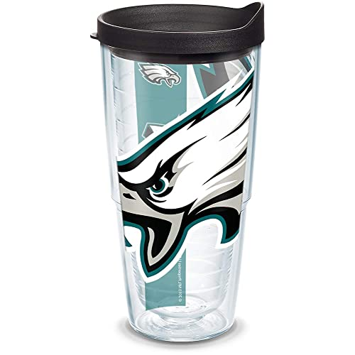 bd93113f06d Tervis 1099379 NFL Philadelphia Eagles Colossal Tumbler with Wrap and Black  Lid 24oz, Clear