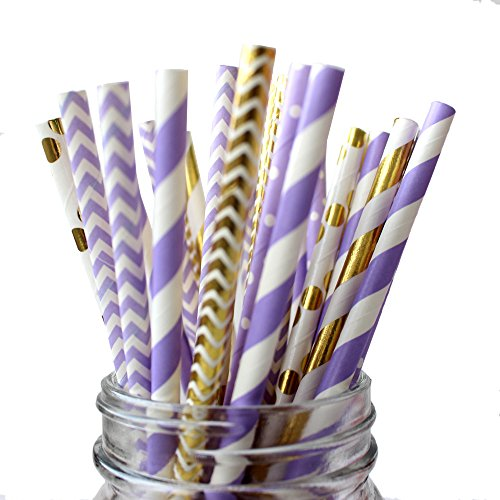 IPALMAY Purple and Gold Biodegradable Drinking Paper Straws, Striped Polka Dot Chevron, 7.75 Inches, Pack of 150