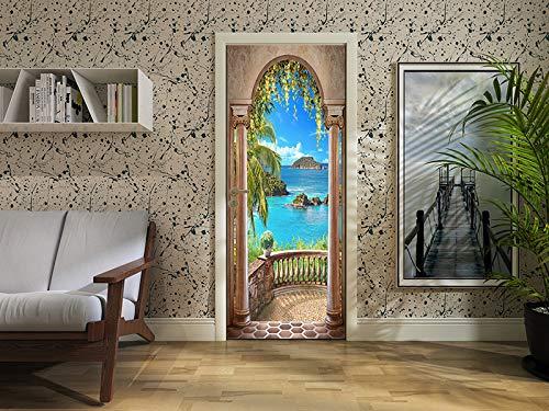 FLFK 30.3x78.7  3D Mare Balcone Arco Porta Autoadesiva Adesivo per porta Murale Foto Adesivo da parete decalcomania Casa arredamento