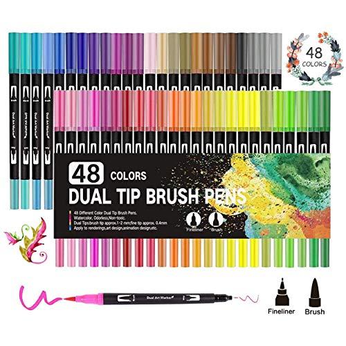 Dual Brush Pens,GXR 48 Farben Aquarell Pinselstifte Marker Fineliner Set Malerei Graffiti Briefpapier für Bullet Journal Handlettering Kalligraphie Manga