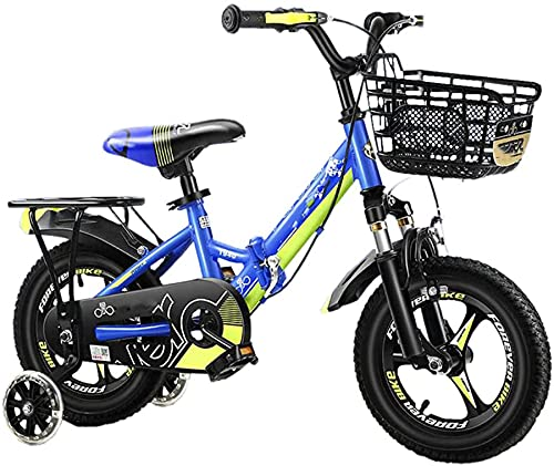 TYX-SS Bicicleta para Niños Plegables por 3-7 Años Chicas Y Niños, Bicicleta para Niños Portátil De 14/16 Pulgadas con Estabilizadores, 85% Montado