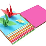 Carta per origami (200 fogli), carta per decorazioni artigianali (70 g/m2), 20 colori assortiti, fogli quadrati (15 x 15 cm), kit di carta per origami per bambini e fai da te.