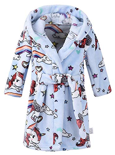 "Kid's Hooded Terry Cloth Bathrobe - Cozy Robe by for Kids (Blue Unicorn, US 7-8T/Height 55.0"")"