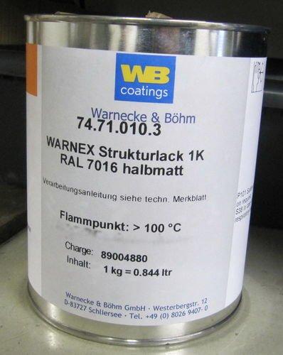 Warnex 1 KG Struckturlack GRAU 7016
