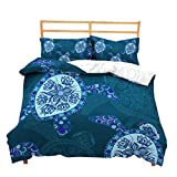 Feelyou Sea Animal Duvet Cover Set Turtle Print King Size Bedding Set 3D Gorgeous Luxury Microfiber Polyester Comforter Cover with 2 Pillow Shams, Zipper, Soft Lightweight Marine Life, 3 Pieces