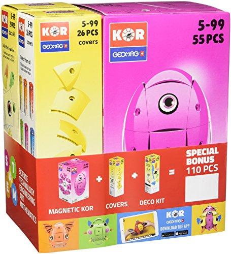 Geomag KOR Color Bundle 584 - KOR Rosa + Cover Giallo + Deco Kit - Giocattoli Magnetici per Bambini - Confezione da 110 Pezzi