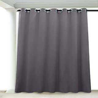 RYB HOME Pergola Curtains Outdoor Water Repellent, Sunlight Vertical Blind for Sliding Glass Door/Terrace/Pavilion/Corridor/Porch/Balcony Deck, 100 x 84 inch, 1 Panel, Grey