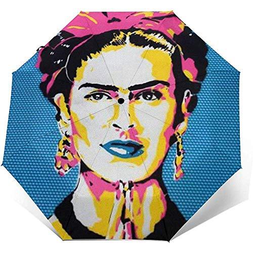 Saatchi Art Frida Kahlo Ombrello compatto pieghevole a Mano impermeabile-parasole-Auto Open&Close (colla nera)