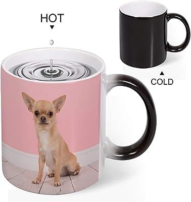 チワワ ピンクの背景 Dog マグカップ お洒落 ジ温め 耐久性 安全で健康 セラミックコーヒーマグ お湯で色が変わるマジックカラー クリエイティブ 素敵 デザイン プレゼント 贈り物 に