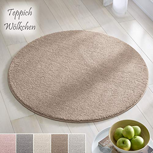 Teppich Wölkchen Kurzflor Teppich I Flauschige Flachflor Teppiche fürs Wohnzimmer, Esszimmer, Schlafzimmer oder Kinderzimmer I Einfarbig I Beige - 120 rund