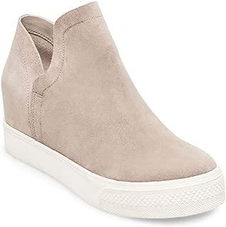 Womens High Top Slip on Platform Sneakers Flatform Chelsea Booties Flat Ankle Boots